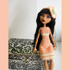 Handmade Crocheted Peach Pink Dress and Headband for Monster High Doll#RDB