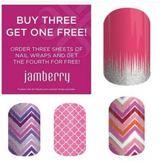 Jamberry wraps are always Buy 3 Get 1 FREE! For $15, you get 18 wraps on one sheet, which gives you 2 manicures and 2 pedicures, each lasting 2 weeks or more. Try them out today!   Jamberry wraps | nail art | Spring Summer Catalog 2015
