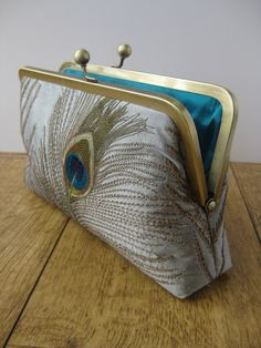 Gray Silver Silk Embroidered Peacock Clutch Bag.