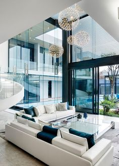 Mansion With Perfect Interiors by SAOTA | #modern #architecture #design #house #home #residence #amazing #beautiful #new #saota #interior #furniture #white #glass #livingroom