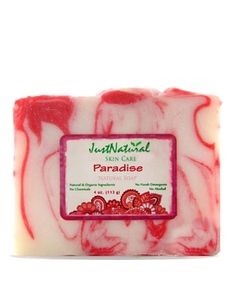 Paradise Natural Handmade Soap 	    	  Handmade Soap Made with Natural & Organic Ingredients   Rich tangy citrus fragrance with sweet fruit aromas make the senses dance!  This beautiful handmade soap is rich in skin moisturizing pure organic vitamin rich plant oils and butters which creates a softening lather and helps to seal in moisture.  Won't strip skin like ordinary soap or leave it feeling sticky.  Pampers even the most sensitive skin.