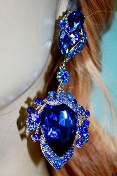 """Stunning BlueTeardrop Chandelier Post Earrings Rhinestone 3.5"""" Pageant Prom #Unbranded #Chandelier"""