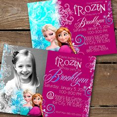 Frozen Blue and Purple Printable Elsa Anna Birthday Invitation Templates - Snowflake Inspired Disney Movie Frozen Party Invitations, Birthday Invitation Templates, Invitation Cards, Frozen Birthday Party, 6th Birthday Parties, Birthday Ideas, Party Time, Dash Image, Anna Frozen