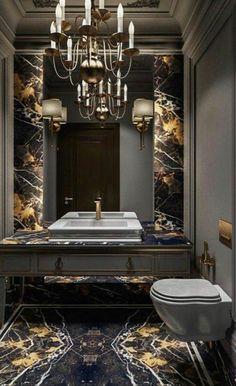 Luxury Bathroom Decor Find the best luxury bathroom decor to inspire your own bathroom style! Washroom Design, Toilet Design, Bathroom Design Luxury, Diy Bathroom, Modern Master Bathroom, Dream Bathrooms, Beautiful Bathrooms, Luxurious Bathrooms, Black Marble Bathroom