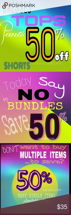 "50% off ??No Need to Bundle 50% OFF ALL TOP, SHORTS, DRESSES AND PANTS.  Not to be combined with ANY OTHER sale opportunity. DON'T HAVE TO BUY MULTIPLE ITEMS to save !  Tops Shirts Shorts  Pants  and... DRESSES... are all 50% OFF ......RIGHT NOW.  ??Look for listings that ALSO SAY   ""April 18th 50% OFF SALE "" 50% off other items besides..Tops, Pants, Shorts and Dresses.. like shoes, keyrings and more Pants"