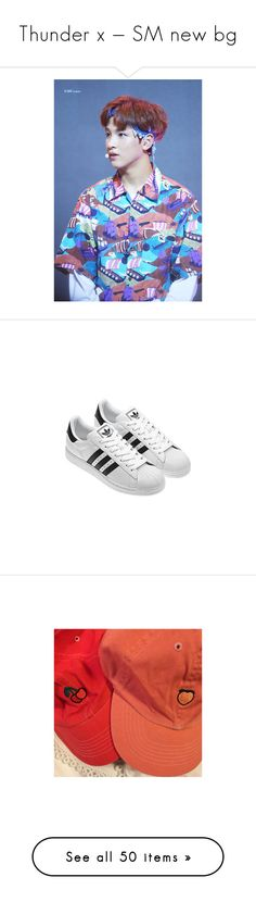 """""""Thunder x — SM new bg"""" by nctaegguk on Polyvore featuring shoes, sneakers, adidas, clothes - shoes, photos, pictures, backgrounds, jewelry, necklaces e chokers"""