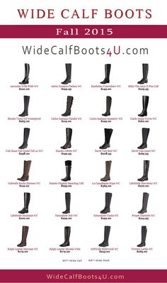 Wide Calf Boots For Fall 2015  Here is a list of the most wanted wide calf boots for the fall season in 2015. About 24 items are listed here:  LifeStride Maximize, David Tate Quest, Naturalizer Tanita, SoftWalk Hollywood, LifeStride Marvelous, David Tate Best, Carlos Santana Claudia, Gabriella Rocha Harness, Aerosoles With Pride, Clarks Malia Waves, Bandolino Coloradeew, Hunter Original Shearling Cuff  #widecalfboots #wideshaftboots #boots #fashionboots #widecalf #plussizeboots #winterboots