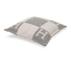 """Avalon PM Hermes signature H pillow in ecru and light grey. 85% wool, 15% cashmere, dacron inside. Measures 19"""" x 19"""""""