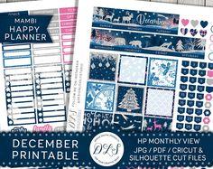 Christmas Planner Stickers Winter Stickers December Stickers Printable Stickers Erin Condren Mambi Happy Planner by DesignLovelyStudio