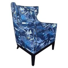 Check out this item at One Kings Lane! Roswell Wingback Chair, Pagoda Indigo