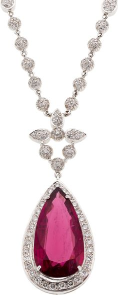 Pink Tourmaline, Diamond, White Gold Necklace, Bianco The necklace features a pear-shaped pink tourmaline measuring 26.00 x 14.00 x 6.30 mm and weighing approximately 15.50 carats, enhanced by full-cut diamonds weighing a total of approximately 2.40 carats, set in 18k white gold, marked Bianco