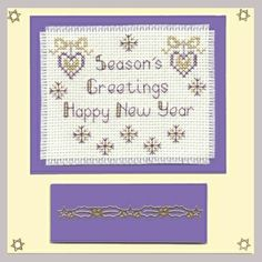 Handmade Christmas Card gift idea by Jean Ashcroft found on MyOwnCreation: Cream card with a festive seasonal greeting stitched in mauve and gold thread.Completed cross stitch on 14 count aida fabric using DMC stranded cotton.Card size: Square ~ 150mm x 150mm (approx 6