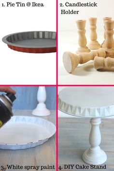 homemade cake stand, unique cake stands,tall cake stands, designer cake stands<br> DIY Cake Stand How to make a cake stand at home with an Ikea pie tin and candle stick holder. Homemade Cake Stands, Homemade Cakes, Deco Buffet, Pie Tin, Tall Cakes, Unique Cakes, Dollar Store Crafts, Cake Plates, Diy Party