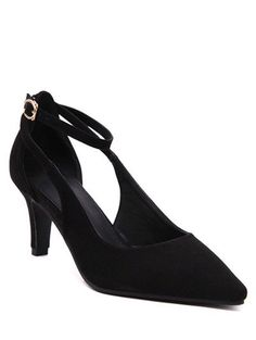 Elegant Ankle Strap and Hollow Out Design Pumps For Women In Black,37 | Twinkledeals.com