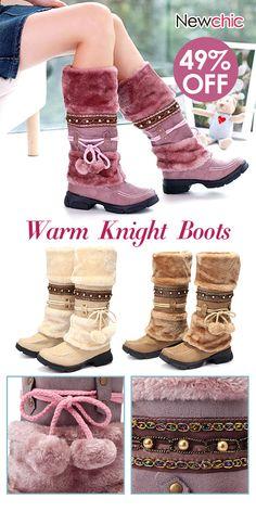 9388bd1891e Large Size Rhinestone Slip On Mid Calf Warm Knight Boots. boots largesize