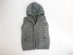 Child Hooded Vest Crochet Pattern - Crochet It Creations Crochet Boys Sweater Pattern Free, Crochet Patterns, Crochet Ideas, Crochet Toddler, Crochet For Boys, Front Post Double Crochet, Half Double Crochet, Basic Crochet Stitches, Crochet Basics