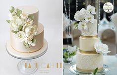 champagne wedding cakes and pale gold wedding cakes by Faye Cahill & Sugar Couture Cupcakes & Cakes