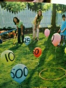 25 Awesome Outdoor Party Games for Kids of All Ages toss hula hoop over balloon game. Great outdoor party game for family reunions or backyard bbqs. Great for young kids learning to add, too Outdoor Party Games, Kids Party Games, Outdoor Parties, Fun Games, Awesome Games, Youth Games, Outdoor Toys, Outdoor Ideas, Outside Party Games