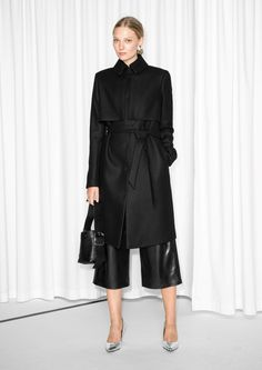 & Other Stories image 2 of Wool Trench Coat in Black