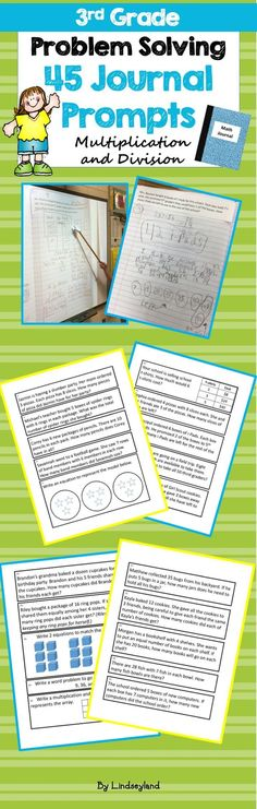 Multiplication and Division Journal Prompts are an easy way to promote problem solving in the classroom. Designed to fit in composition books, students model, explain, self-assess, and actively discuss their mathematical thinking with peers. Made by LIndseyland.