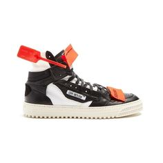 Off-White LOW 3.0 trainers ($610) ❤ liked on Polyvore featuring men's fashion, men's shoes, men's sneakers, black white, shoes, mens leather high top sneakers, mens leather high top shoes, men's low top shoes, men's low top sneakers and mens high top shoes