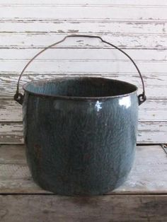 Antique Gray Graniteware Kettle Bucket Pail by TreasuredPrimitives