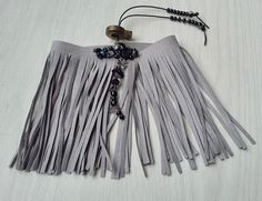 Upper arm bracelet, grey faux suede arm cuff with fringes decorated with sequins and beads