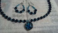 Black and blue flower glass bead necklace and earrings