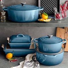 Double tap if you're feelin' this new @LeCreuset in Marine Blue! Bring the beauty of the sea into your kitchen with this collection available exclusively at WS for a limited time. #shoplinkinbio #seainspired #weddingregistry by williamssonoma