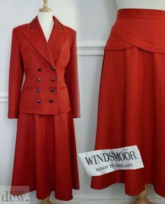 VINTAGE red WOOL SUIT 1930 s 40 s style 80 S windsmoor full skirt 12 14 16