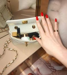 """""""I need a pretty little Chanel bag filled with hundreds of dollars.oh and a perfect red manicure to go with! Best Nail Art Designs, Beautiful Nail Designs, Beautiful Nail Art, Gorgeous Nails, Red Manicure, Red Nails, Sns Nails Colors, Pink Coffin, Zeina"""