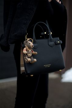 Wearing The Small Banner in Leather from Burberry//Thomas Bear Charm in Riveted Check Cashmere//Jeans Vest from Brandy Melville. Burberry Handbags, Prada Handbags, Black Handbags, Purses And Handbags, Leather Handbags, Burberry Purse, Luxury Purses, Luxury Bags, Luxury Handbags