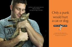 """Sande Riesett photographed macho men for the """"Show Your Soft Side"""" campaign for kindness with animals. Here, Baltimore police officer Jon Boyer"""
