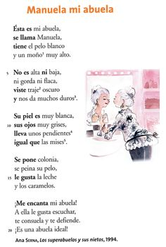 "Un poema de Ana Serna ""Manuela mi abuela"" Perfect for Checkpoint A! Middle School Spanish, Elementary Spanish, Ap Spanish, Spanish Grammar, Spanish Vocabulary, Spanish Language Learning, Spanish Teacher, Spanish Classroom, Spanish Teaching Resources"