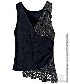 Combining fabrics and crochet.  This would be easy enough to add to a tank top.