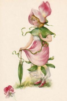 ArtbyJean - Vintage Clip Art: Three different beautiful prints of children dressed with fairy flowers