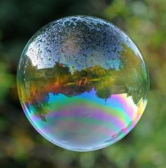 Mountains Reflected in Bubble