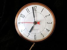 Vintage Mid Century Modern Copper Wall Clock by Westclox Electric USA Works | eBay