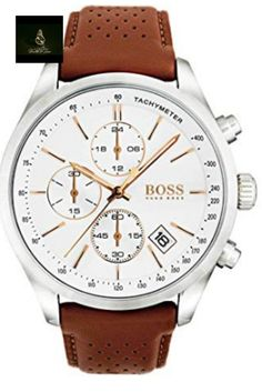 BOSS Hugo Boss Grand Prix Chronograph & Date Perforated Light Brown Leather-Strap Watch