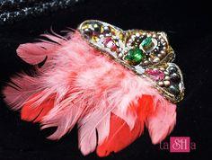 Feather brooch Rhinestone brooch coral brooch with feather gorgeous brooch for the dress handmade brooch Great Gatsby Art Deco Brooch by tashabiju on Etsy