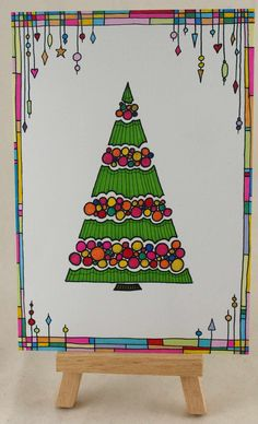 Doodling christmas card doodling christmas tree and dangles :) Christmas Arts And Crafts, Diy Christmas Cards, Noel Christmas, Xmas Cards, Winter Christmas, Christmas Doodles, Christmas Drawing, Christmas Paintings, Christmas Tree Zentangle