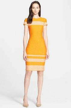 St. John Collection Micro Tweed Engineered Stripe Dress #yellow