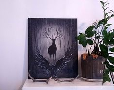 This is a canvas piece of art I painted for my little sister to use as decoration a few years back. I'm really happy how it turned out. :)  #painting #fineart #deerart #sisustustaulu #taulu #maalaus