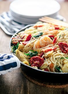 Sun Dried Tomato Pasta with Shrimp - Similar to what I had last night (but with green beans and whole cherry tomatoes)