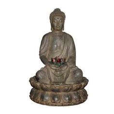 Buddha In Lotus Flower Tabletop Fountain With Led Light