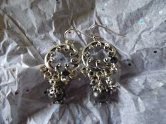 These are metallic black earrings!