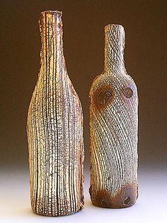 Akira Satake - bottles- stoneware- kohiki glaze