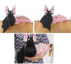 handmade black bat plush with abstract wings by MiniSweetx.deviantart.com on @DeviantArt  Made with a sewing pattern from www.beezeeart.com