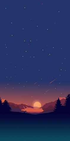 Sunset View Stars Minimal Nature iPhone Wallpaper - iPhone Wallpapers