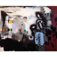 Emily Filler - Dreamscape (red + black + rainbow), 48x60... #art #painting #abstract #florals #flowers #polkadots #rainbow #mixedmedia #contemporaryart #ss16 #aw16 #fw16 #emilyfiller
